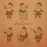 Doodle santa claus set Stock Photo