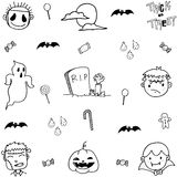 Doodle of scary face halloween Royalty Free Stock Photo