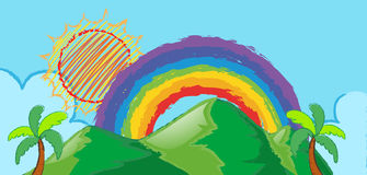 Doodle scene with rainbow over the mountain Royalty Free Stock Images