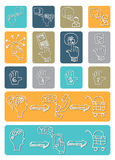 Doodle scheme main activities seo with icons Royalty Free Stock Photos