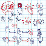 Doodle scheme main activities seo with icons. Stock Image