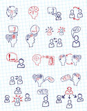 Doodle scheme people communication with icons. Stock Photos