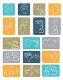 Doodle scheme people communication with icons Royalty Free Stock Photography