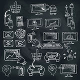 Doodle scheme seo communication with icons Stock Photo