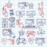 Doodle scheme seo communication with icons. Royalty Free Stock Images