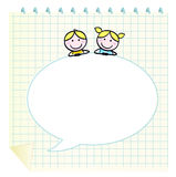 Doodle school children with Notepad. School cute kids isolate on grid Notepad. Vector Illustration in retro style Stock Image