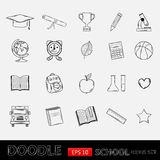 Doodle school icons set. Royalty Free Stock Photography