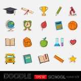 Doodle school icons set Stock Image