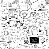Doodle school items royalty free illustration