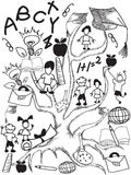Doodle school tree background Stock Images