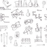 Doodle Science Lab Objects Seamless Pattern. Royalty Free Stock Photography