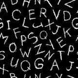 Doodle scratch hand drawn alphabet seamless pattern. Scribble white letters on blackboard backdrop. Vector illustration.  royalty free illustration