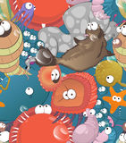 Doodle sea creatures pattern. Seamless vector cartoon sea creatures pattern Stock Photo