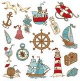 Doodle Sea elements stock illustration