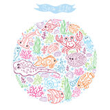 Doodle sea life circle composition Royalty Free Stock Photo