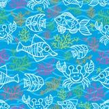 Doodle sea life seamless pattern Royalty Free Stock Photo