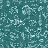 Doodle sea life seamless pattern Royalty Free Stock Image