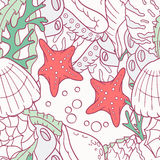 Doodle sea seamless pattern with starfish and shells Stock Images