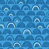 Doodle sea waves seamless pattern. Stock Photo