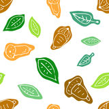 Doodle seamless autumn pattern with acorn and leaves. Late autumn seasonal forest background stock illustration