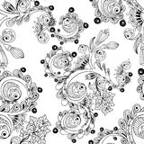 Doodle seamless background with doodles, flowers and paisley. Royalty Free Stock Image