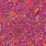 Doodle seamless background oriental pink Royalty Free Stock Image