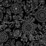 Doodle seamless background with steampunk birds and flowers. Stock Photography