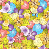 Doodle seamless background in vector with doodles, flowers and paisley.  Colorful version. Royalty Free Stock Photo