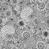Doodle seamless background in vector with doodles, flowers and paisley. Stock Image