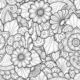 Doodle seamless background in vector with doodles, flowers and paisley. Royalty Free Stock Images