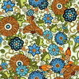 Doodle seamless background in vector with doodles, flowers and paisley. For wallpaper, pattern fills. Royalty Free Stock Photography