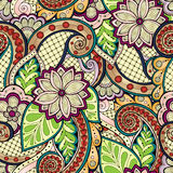 Doodle seamless background in vector with doodles, flowers and paisley. For wallpaper, pattern fills. Royalty Free Stock Photos
