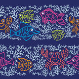 Doodle seamless border .Sea Life Stock Photography