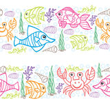 Doodle seamless border .Sea Life Royalty Free Stock Images