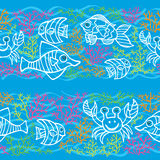 Doodle seamless border .Sea Life Royalty Free Stock Photo