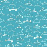 Doodle seamless clothes hangers pattern stock illustration