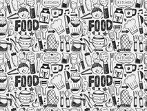 Doodle Seamless Cooking And Kitchen Background Royalty Free Stock Photos