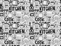 Doodle seamless Cooking and kitchen background Stock Image