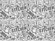 Doodle seamless Cooking and kitchen background Royalty Free Stock Image
