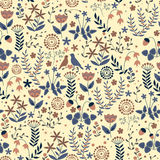 Doodle seamless floral pattern with flowers and birds Stock Images
