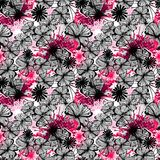 Doodle seamless flower ink pattern Royalty Free Stock Photos
