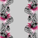 Doodle seamless flower ink pattern Stock Photos