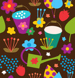 Doodle seamless garden pattern. Summer colorful background Royalty Free Stock Photography