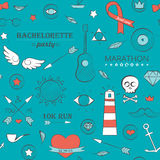 Doodle seamless hipster pattern over turquoise Royalty Free Stock Photography