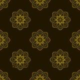Doodle seamless image. Mandala, circular patterns. Yellow on black. Hand drawing stock illustration