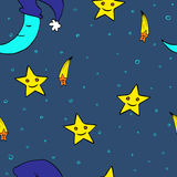 Doodle seamless night pattern background4 Royalty Free Stock Images
