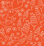 Doodle seamless patten with flowers and hearts. Endless lace background for prints Stock Photos
