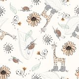 Doodle seamless pattern. Sweet babies doodle seamless pattern. Pastel background Royalty Free Stock Photo