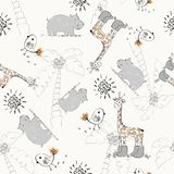Doodle seamless pattern. Sweet babies doodle seamless pattern. Pastel background Stock Photo