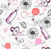 Doodle seamless pattern. Sweet babies doodle seamless pattern for girl Stock Photography